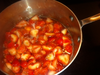 Strawberries cooking on the stove smell DIVINE!